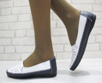 Дамски ежедневни обувки  бели със синьо естествена кожа
