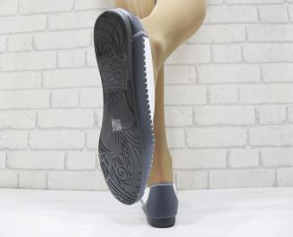 Дамски ежедневни обувки  бели със синьо естествена кожа 3