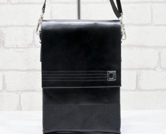 Мъжка чанта черна естествена кожа