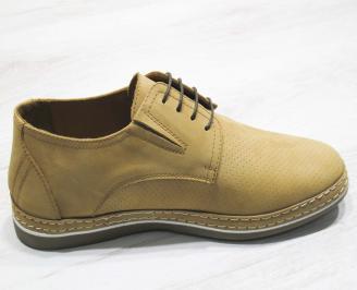 Мъжки спортно елегантни обувки набук бежови 3