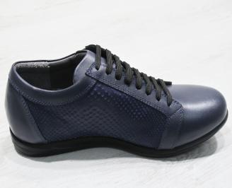 Мъжки обувки тъмно сини естествена кожа 3