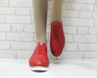 Дамски равни обувки естествена кожа червени