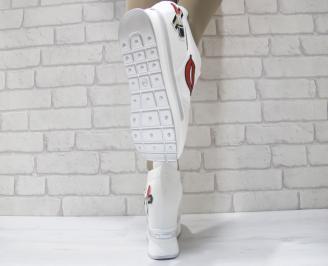 Дамски обувки на платформа текстил бели 3