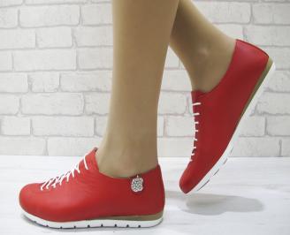 Дамски обувки Гигант равни естествена кожа червени