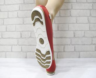 Дамски обувки Гигант равни естествена кожа червени 3