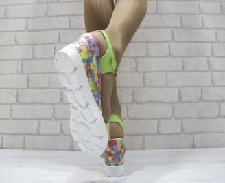 Дамски сандали на платформа  зелени 3