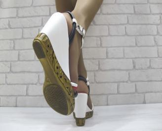 Дамски сандали бяло/синьо/червено еко кожа 3