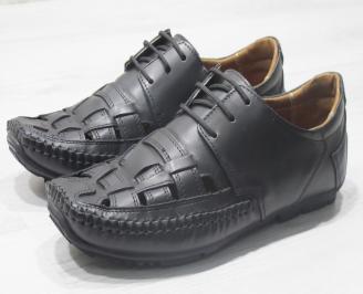 Мъжки сандали черни естествена кожа