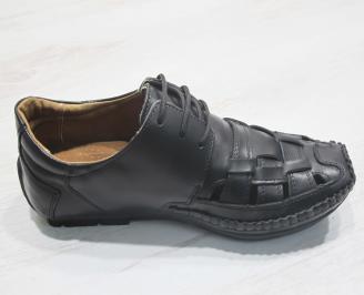 Мъжки сандали черни естествена кожа 3
