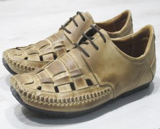 Мъжки сандали бежови естествена кожа