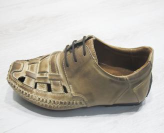 Мъжки сандали бежови естествена кожа 3