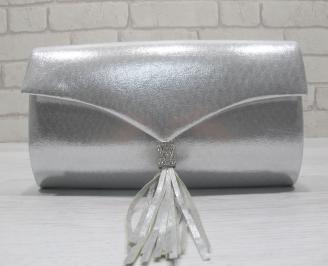 Абитуриентска чанта текстил/сатен/ сребриста