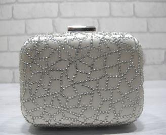 Абитуриентска чанта  сребрист сатен+камъни