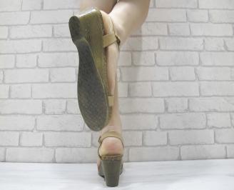 Дамски сандали естествена кожа бежови 3