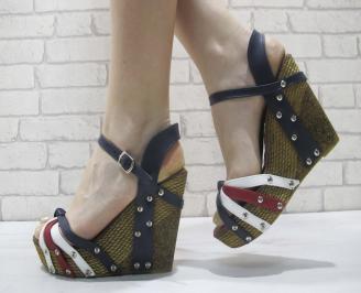 Дамски сандали бяло/синьо/червено