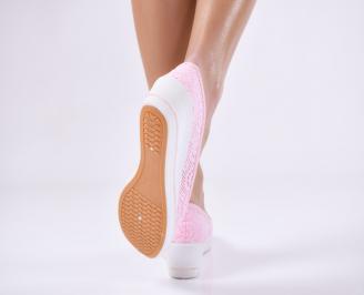 Дамски  обувки  розови текстил 3
