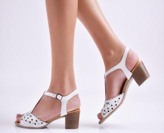 Дамски  сандали бели естествена кожа