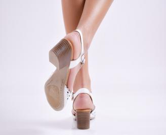 Дамски  сандали бели естествена кожа 3