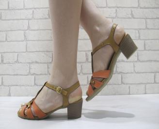 Дамски сандали  бежови естествена кожа