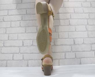 Дамски сандали  бежови естествена кожа 3