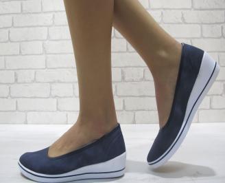 Дамски обувки на платформа текстил тъмно сини