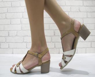 Дамски сандали  бежово/бяло естествена кожа