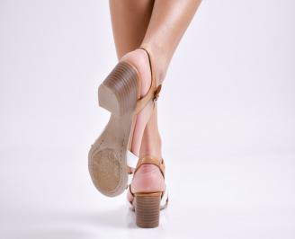 Дамски сандали  бежово/бяло естествена кожа 3