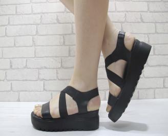 Дамски сандали на платформа черни естествена кожа