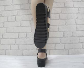 Дамски сандали на платформа черни естествена кожа 3