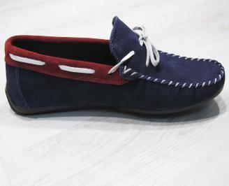 Мъжки спортно елегантни обувки велур сини