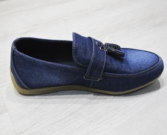 Мъжки спортно елегантни обувки текстил  сини