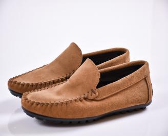 Мъжки спортно елегантни обувки велур бежови