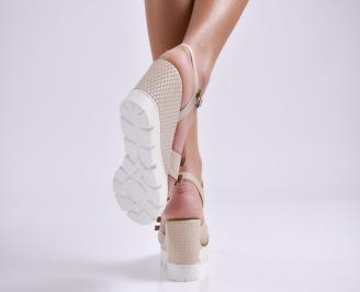 Дамски сандали на платформа бежови естествена кожа 3