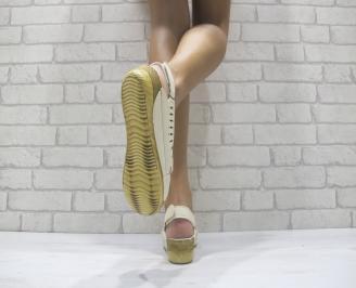 Дамски сандали на платформа еко кожа бежови 3