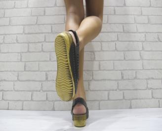 Дамски сандали на платформа еко кожа черни 3