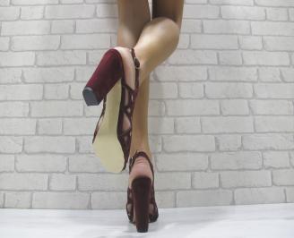 Дамски елегантни сандали еко велур вишневи 3