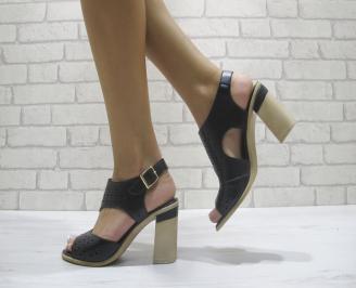 Дамски елегантни сандали на ток черни еко кожа