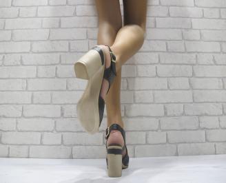 Дамски елегантни сандали на ток черни еко кожа 3