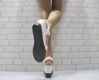 Дамски сандали на платформа еко кожа бели 3