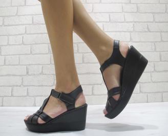 Дамски сандали на платформа еко кожа черни