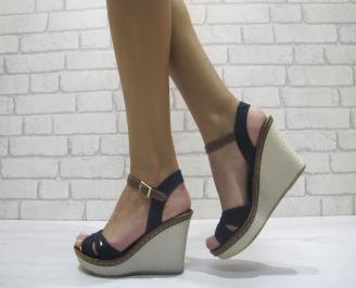 Дамски сандали на платформа текстил тъмно сини