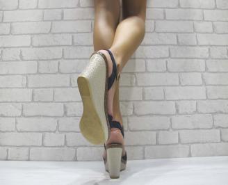 Дамски сандали на платформа текстил тъмно сини 3