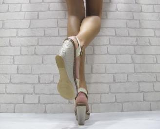 Дамски сандали на платформа текстил бежови 3