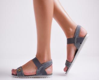 Дамски равни  сандали тъмно сини текстил