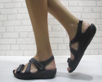 Дамски равни сандали-Гигант естествена кожа черни