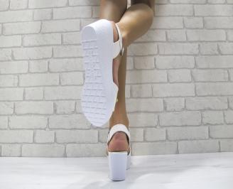 Дамски сандали на платформа еко лак бели 3