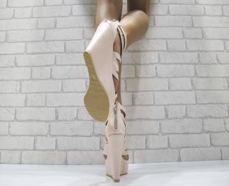 Дамски сандали на платформа еко кожа светло розови 3