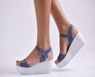 Дамски сандали на платформа текстил сини