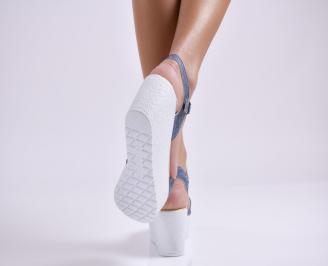 Дамски сандали на платформа текстил сини 3
