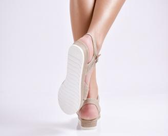 Дамски равни  сандали  текстил светло кафяви
